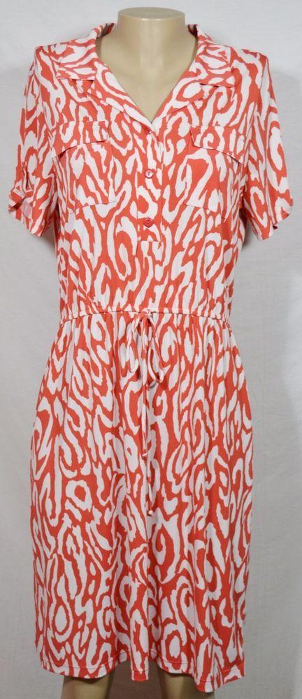 VALERIE BERTINELLI Orange White Patterned Collared Shirt Dress 14 Short Sleeves #ValerieBertinelli #ShirtDress #Casual