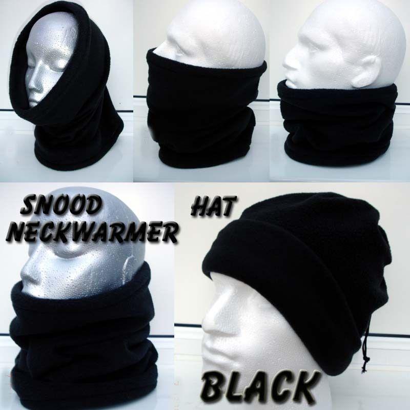 MADE in UK - BLACK snood fleece ski biker neck warmer balaclava hat ADULT  KIDS in Sporting Goods a5506b8b50b9