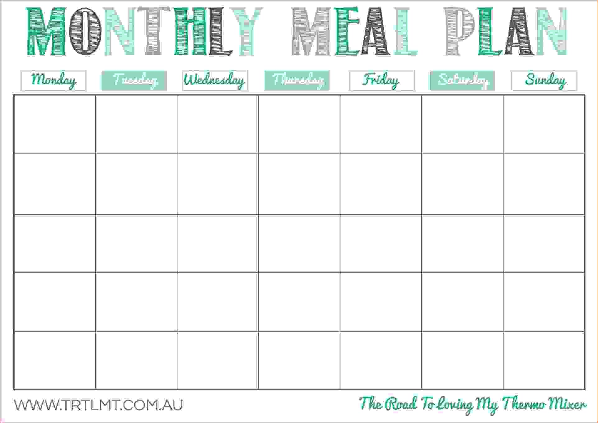 Free Printable Monthly Meal Planner Template