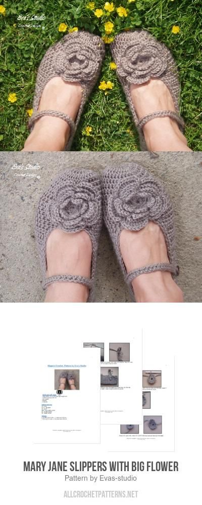 Mary Jane Slippers with Big Flower crochet pattern by Eva\'s studio ...