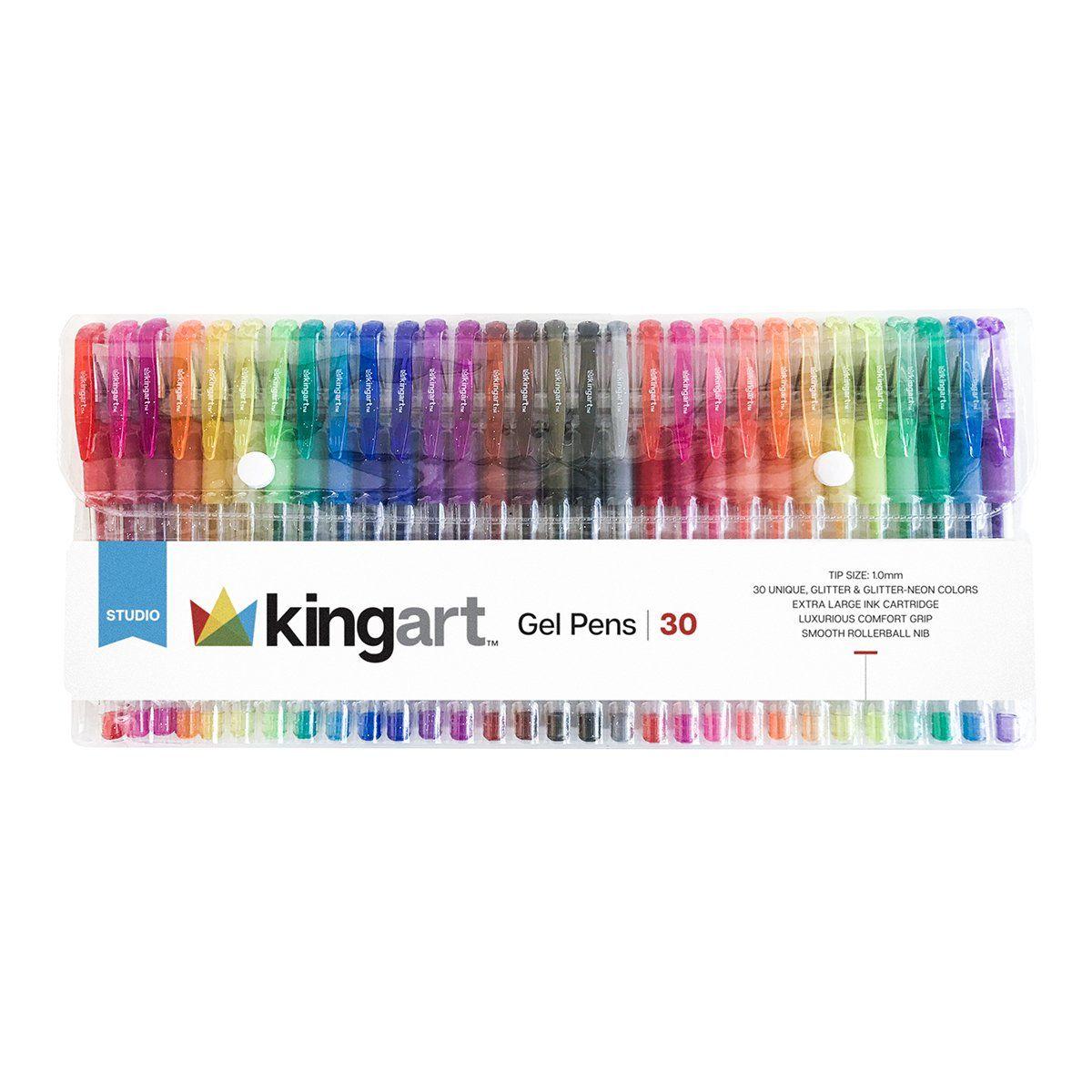 Kingart Soft Grip Glitter Gel Pens 2 5mm Ink Cartridge Set Of