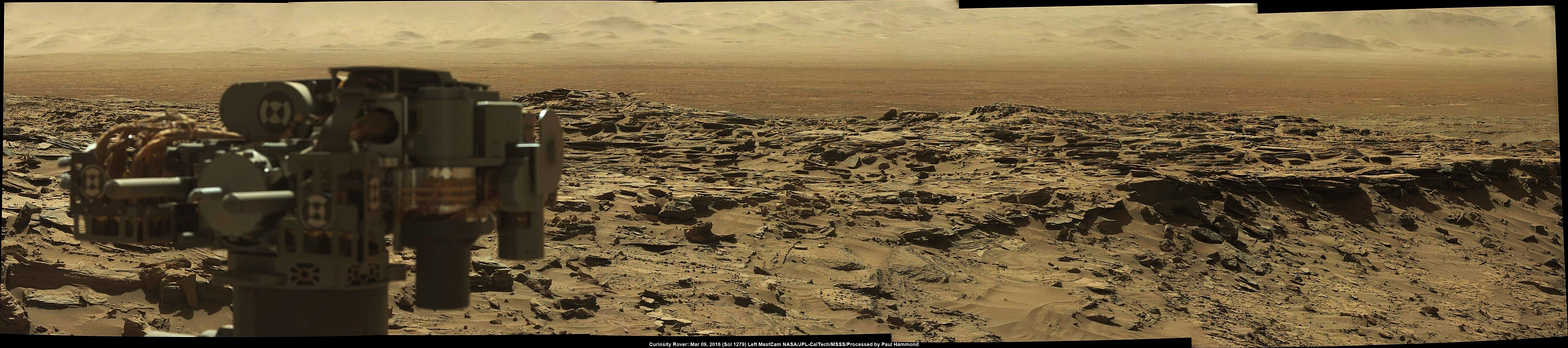 Stunning Panorama of Mars | Acquired by Curiosity Rover on Mission Sol 1276 (March 09 2016) [5688  1263]