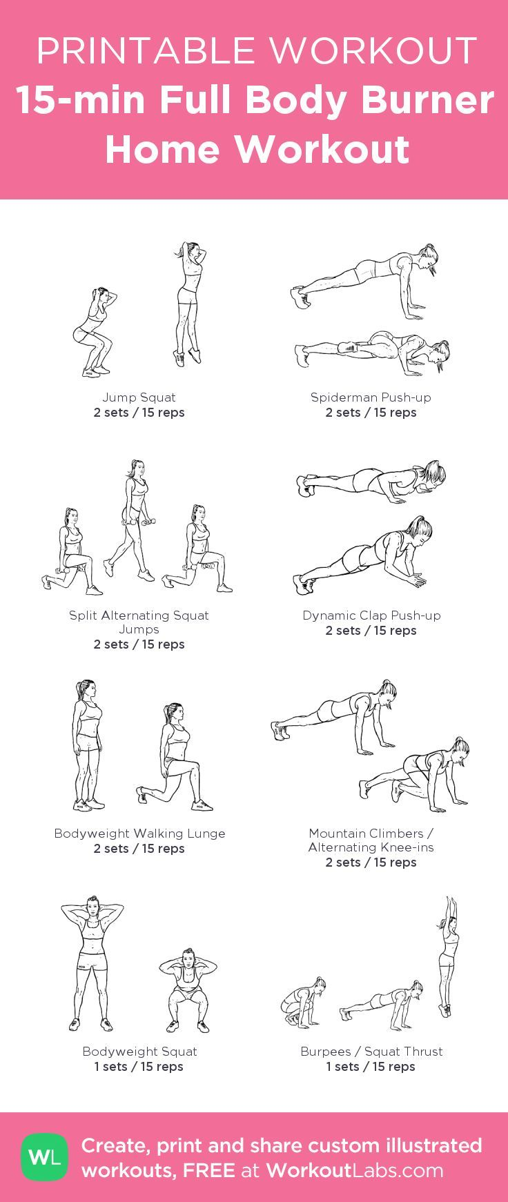 Printable 15 Minute Full Body Burner Home Workout Plan