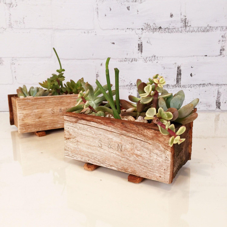 Handmade Reclaimed Wood Succulent Planter Box Small Planter Wedding Decoration Can Be P Succulent Planters Box Wood Succulent Planter Succulent Planter Diy