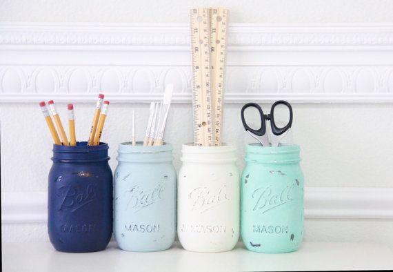 Mason Jars Distressed, Ocean, Beach, dorm room, pen holder, pencil holder, desk organizer, room decor, dorm decor, Set of 4 - READY TO SHIP