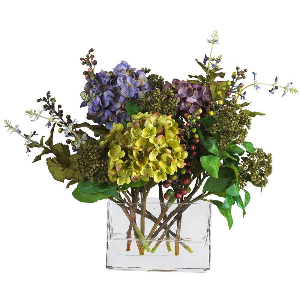Nearly Natural 12 In Mixed Hydrangea Silk Flower Arrangement With Rectangle Vase Hydrangea Arrangements Silk Flower Arrangements Flower Arrangements
