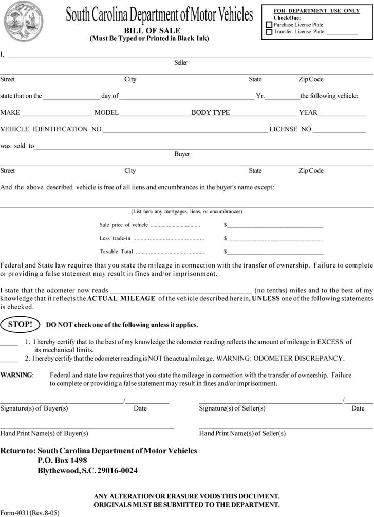 South Carolina Motor Vehicle Bill Of Sale Form Download The Free Printable Basic Bill Of Sale Blank Form Template Or Wa Bill Of Sale Template Good Essay Bills