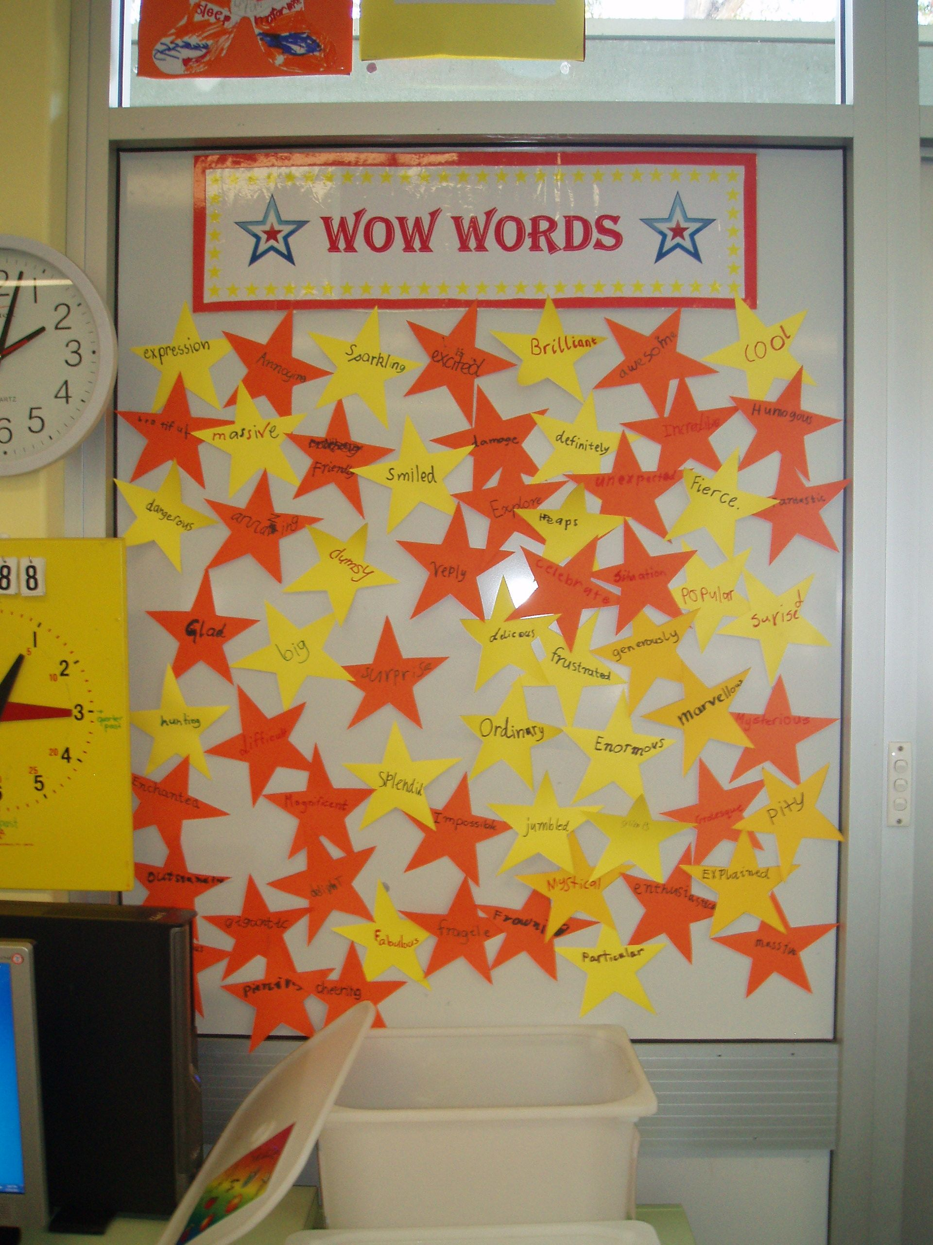 WOW words  Children write their own WOW words (adjectives