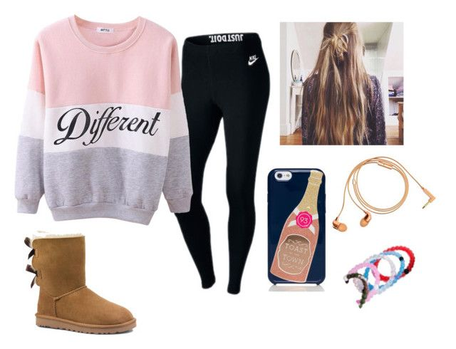 """""""Casual Cozy"""" by mmd32 ❤ liked on Polyvore featuring NIKE, UGG Australia, Kate Spade, Happy Plugs and Lokai"""
