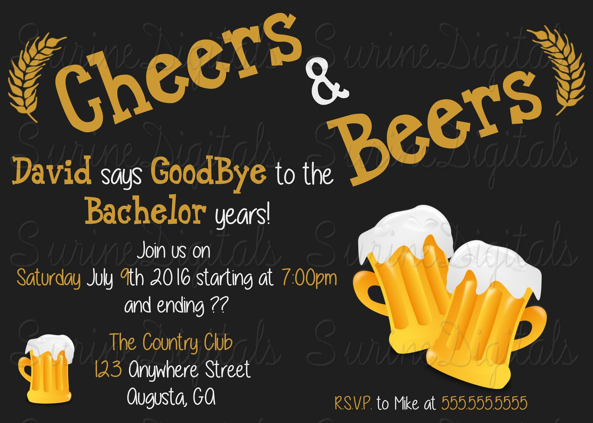 Cheers and Beers Bachelor party or Birthday Party Invitation/ Grooms ...