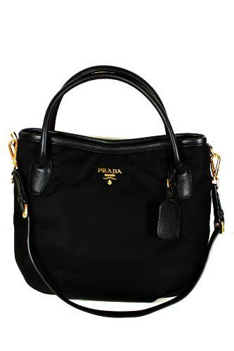 6b2770835bf1 Prada Handbags Black Tessuto and Black Leather BR4420 Prada