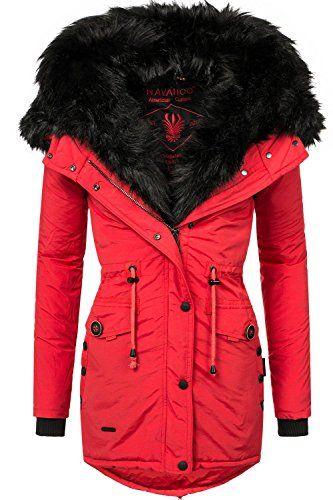 Navahoo Damen Mantel mit doppelter Kunstpelz-Kapuze Sweety (vegan hergestellt) Rot Gr. S