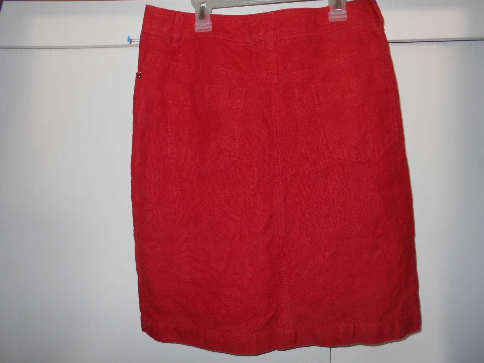 HESSNATUR RED HEMP SKIRT Womens 8 Jean Pencil Straight EUROPEAN Organic designer