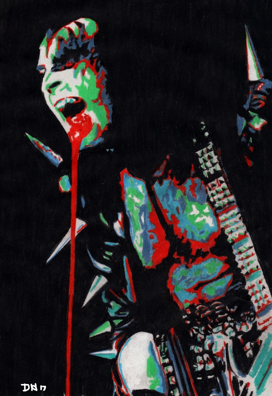 Gene Simmons Psychadelic Colored Pencil Drawing By Dean Huck