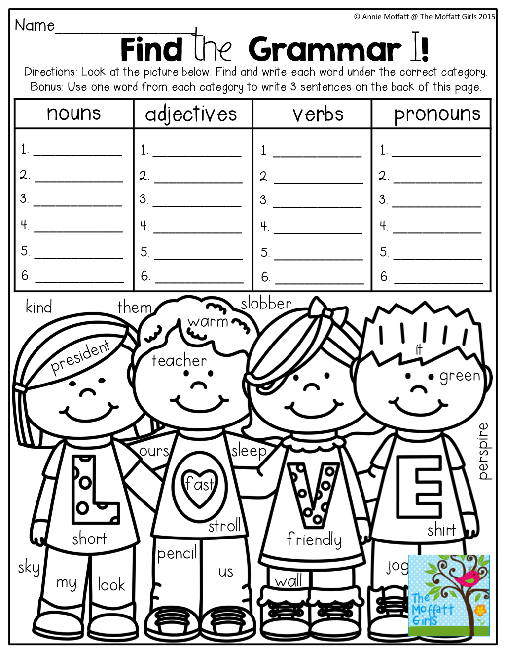Find The Hidden Nouns Adjectives Verbs And Pronouns Tons Of Fun