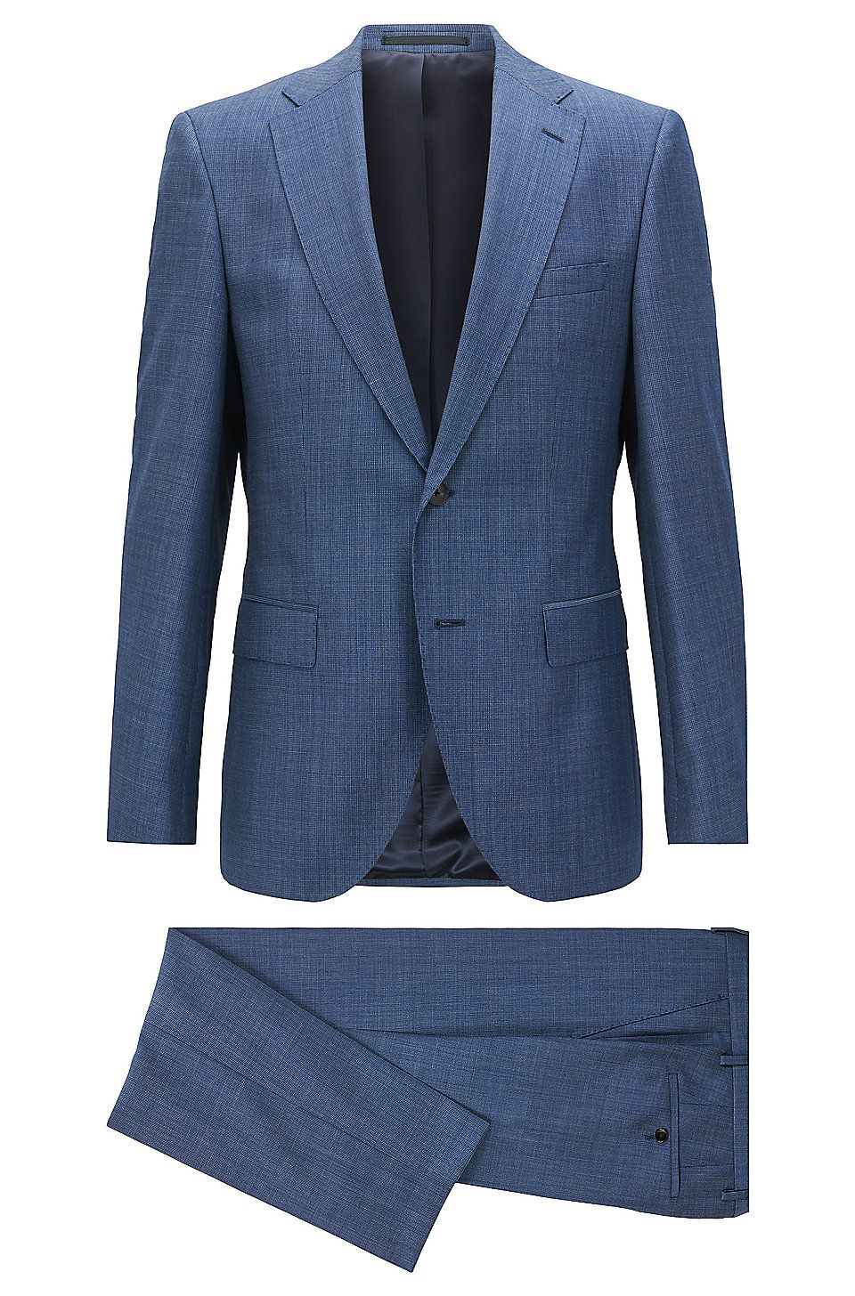 Hugo Boss Regular Fit Suit In Melange Virgin Wool Open Blue Business Suits From Boss For Men In The Officia In 2020 Mens Fashion Suits Mens Charcoal Suit Fitted Suit