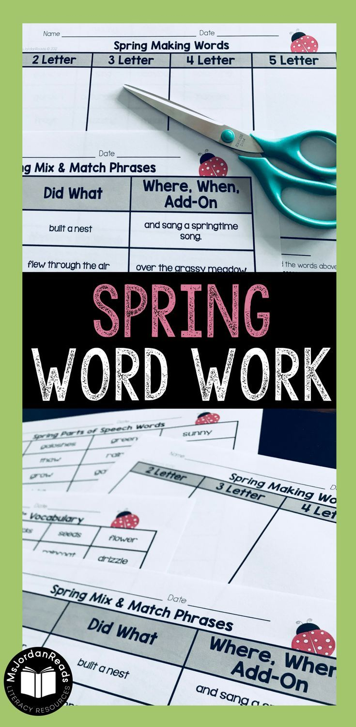 Spring Word Work Activities | Reinforce phonics, decoding, fluency, and vocabulary in the classroom with your students using this fun spring-themed collection of literacy activities. | Includes word sorts, sentence building, word puzzles, making words, and roll & read tasks.