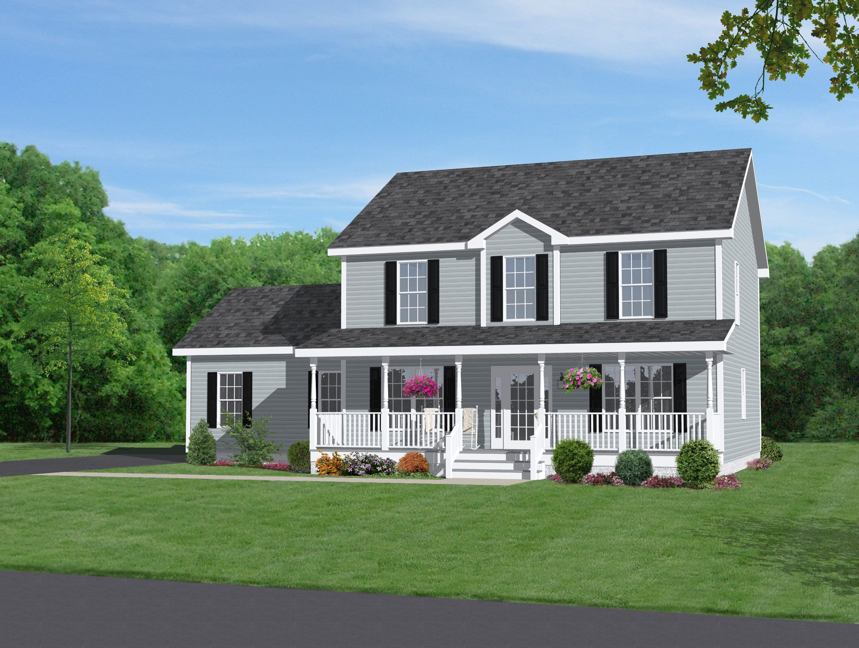 Two story home with beautiful front porch dream home for Small two story house plans with garage