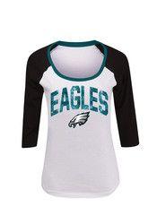 d76c8999 Philadelphia Eagles Womens Slub White Scoop Neck Tee | NFL ...
