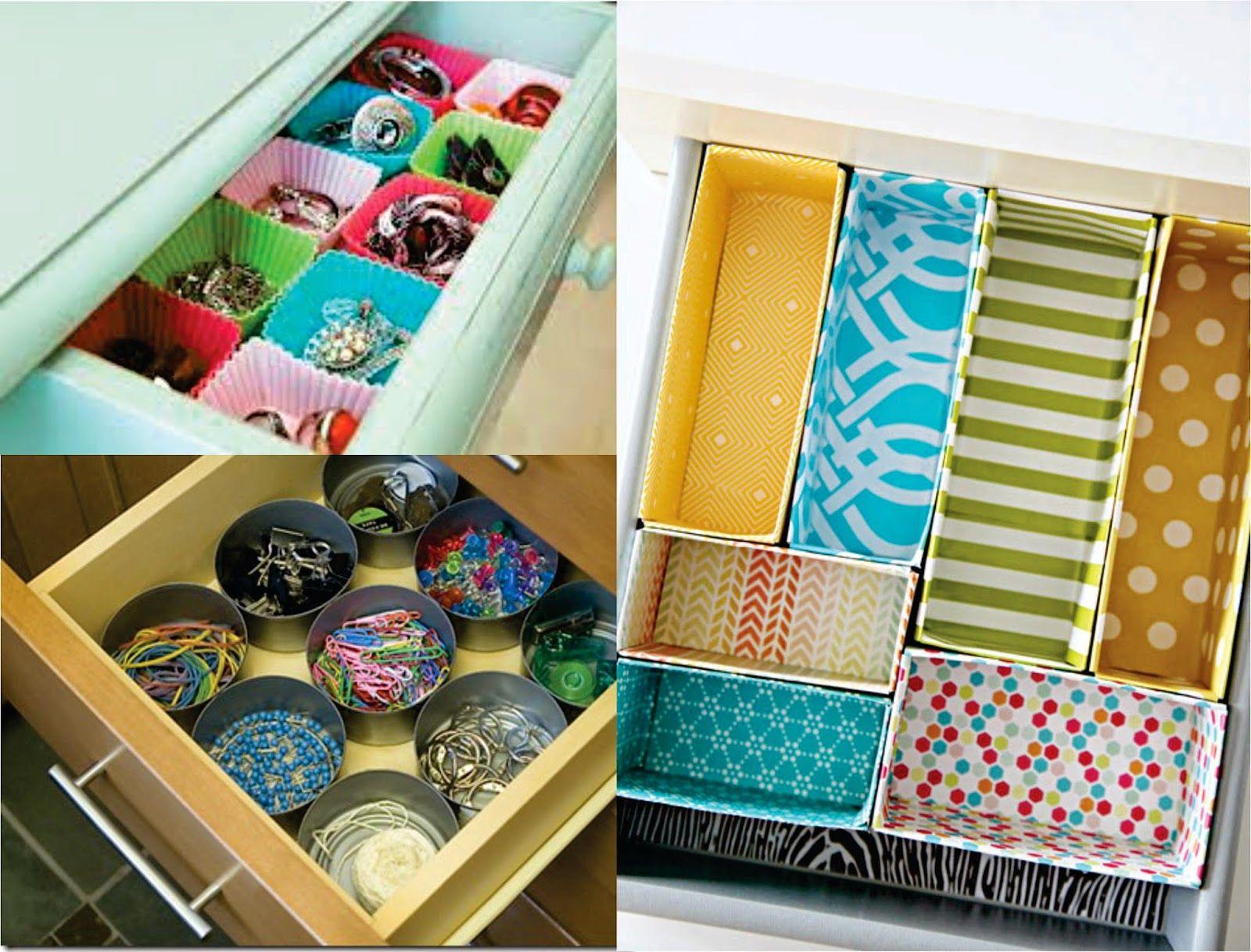 Para organizar as gavetas que tal utilizar peças simples como caixas, formas de cupcake, formas de gelo e até mesmo latas de atum! Use e abuse de papel contact, tinta e o que você quiser!