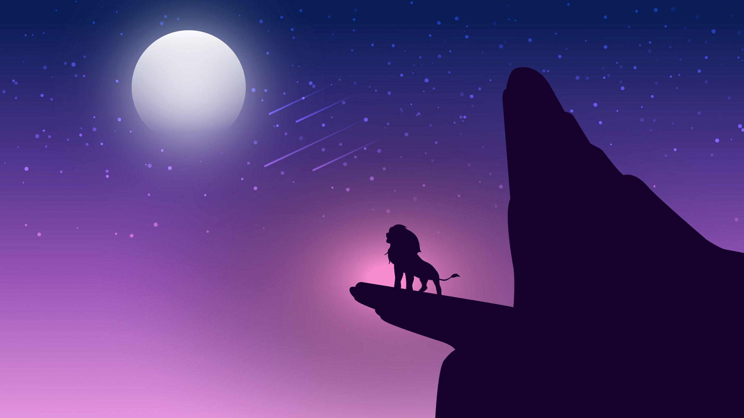 2560x1440 Night Lion King Simba Minimal Silhouette Art