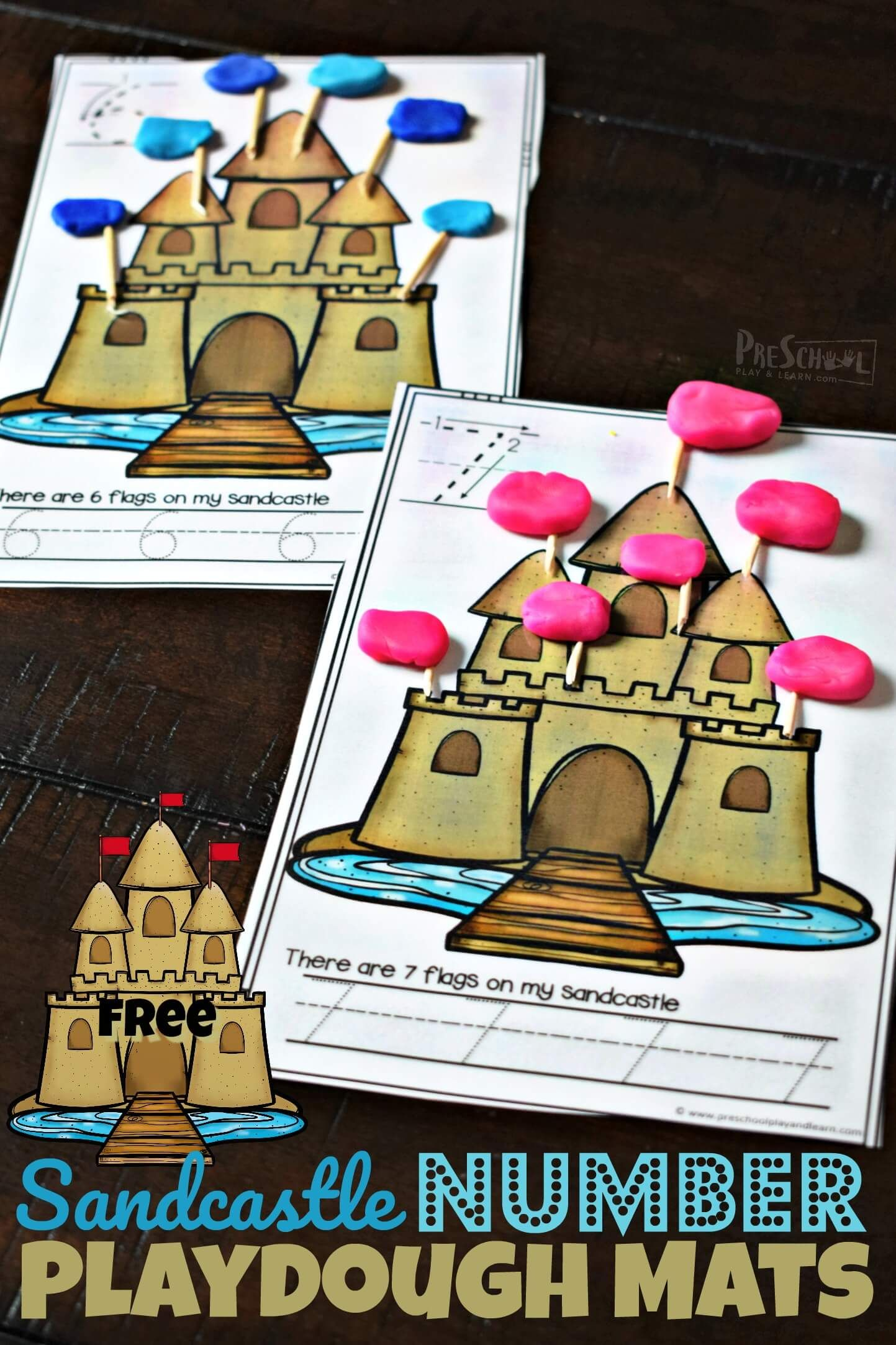 Free Sandcastle Number Playdough Mats