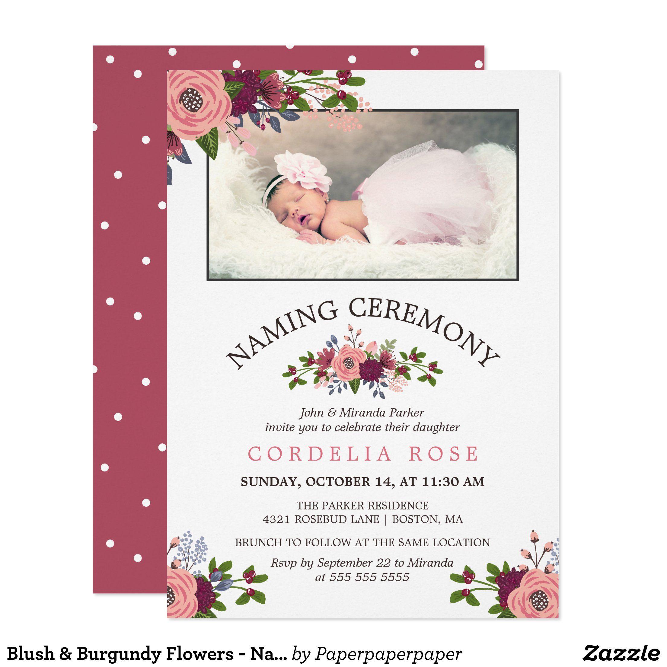 Blush Burgundy Flowers Naming Ceremony Invitation Zazzle Com Naming Ceremony Invitation Naming Ceremony Burgundy Flowers