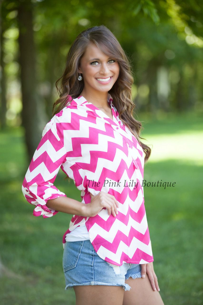 Chevron Button Blouse Pink - The Pink Lily Boutique | Want! | Pinterest