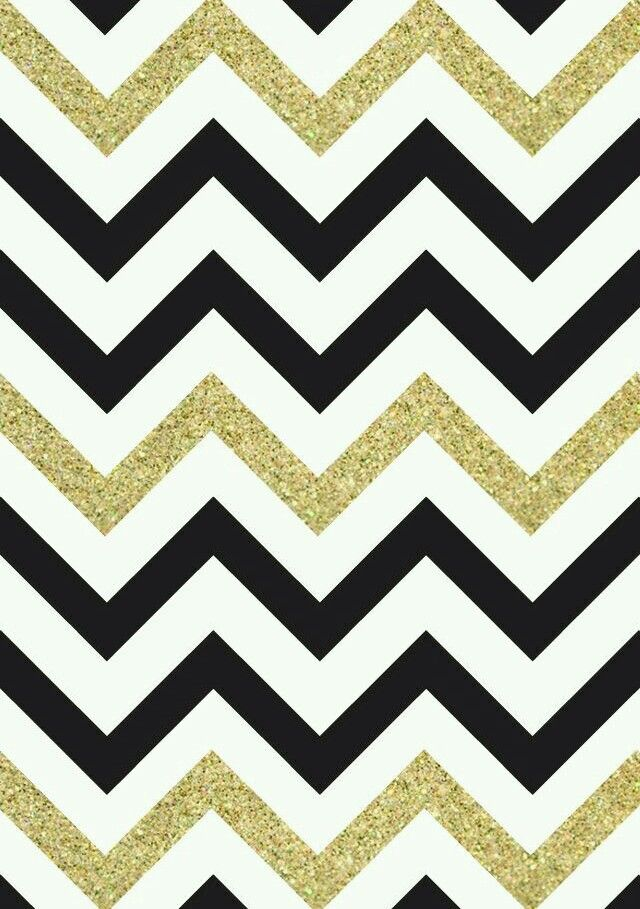 Black, White & Gold Glitter Chevron Print Wallpaper ...