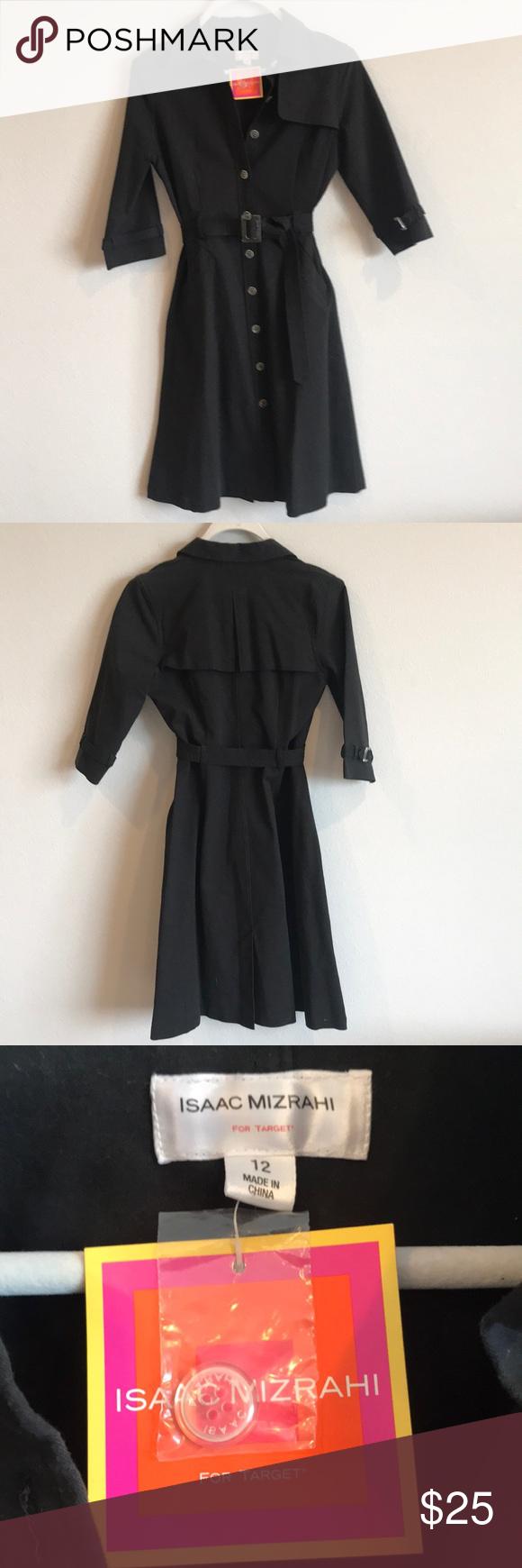 Isaac Mizrahi NWT Black Trench Coat Dress