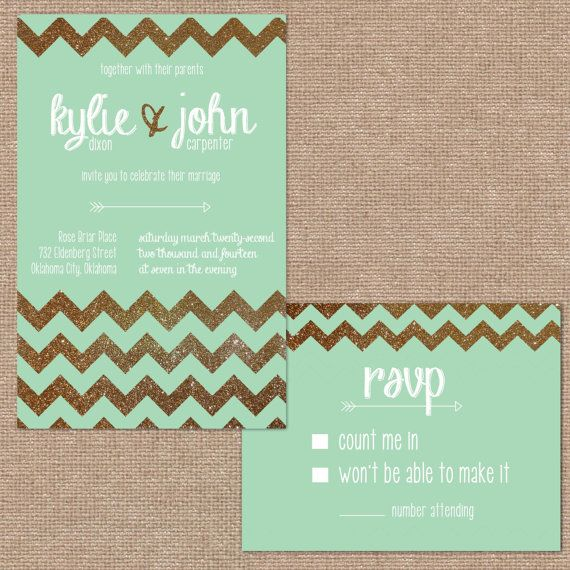 Gold Glitter Chevron And Mint Wedding Invitation   Too Casual For Wedding  Invite But Maybe For
