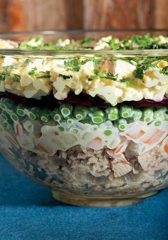 This stacked salad has a good shot at being the most interesting-looking and widely appealing dish on the buffet table. Even though it consists of everyday ingredients—beets, potatoes, carrots, eggs, peas and canned tuna—seeing them arranged in layers in a glass bowl gives them an appeal that's much greater than the sum of its parts.