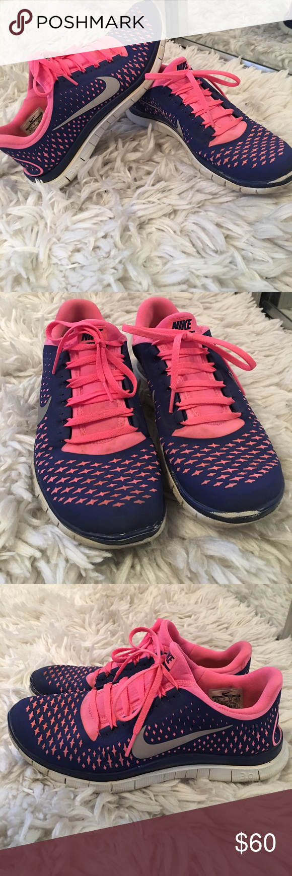 f938294a889c Nike Free Run 3.0 Pink purple silver and white! Have been worn down on the  front toe area as pictured but besides that in awesome condition!!