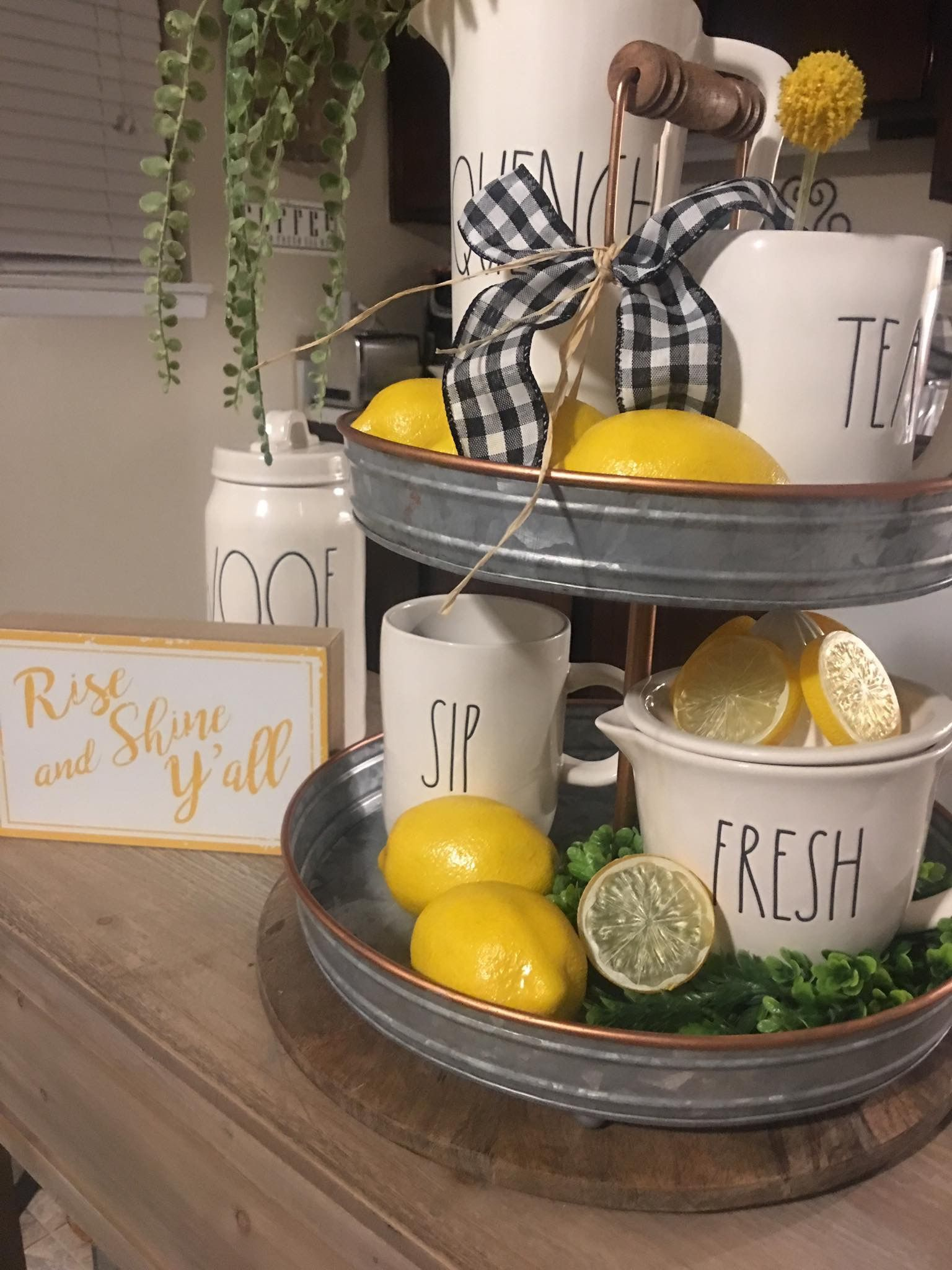 Summer Lemon Kitchen Kitchen Island Decor Tray Decor
