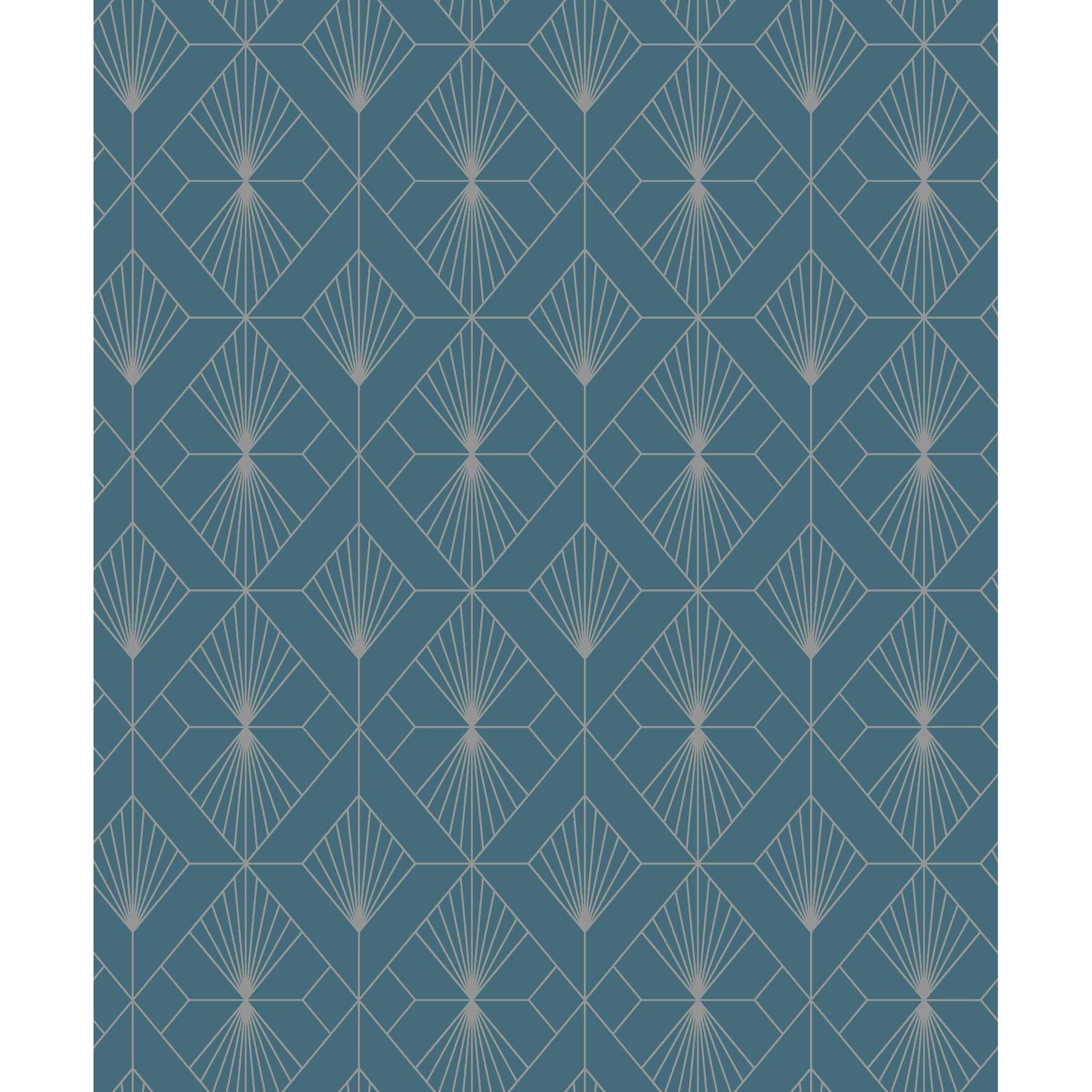 Papier Peint Expanse Diamant Bleu Argent Papier Peint Diamant Bleu Papier Peint Geometrique