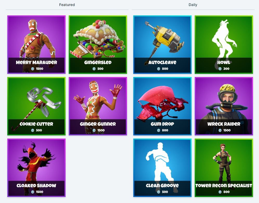 Fortnite Item Shop 29th December All Fortnite Skins Cosmetics New