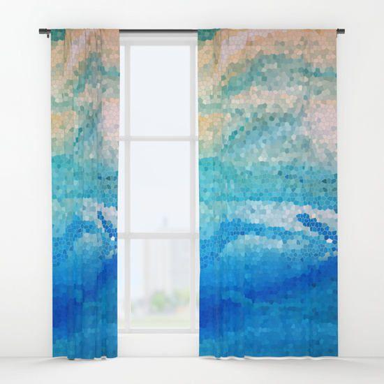 Decorative Mosaic Window Curtains Aqua Sand Coastal Beach With