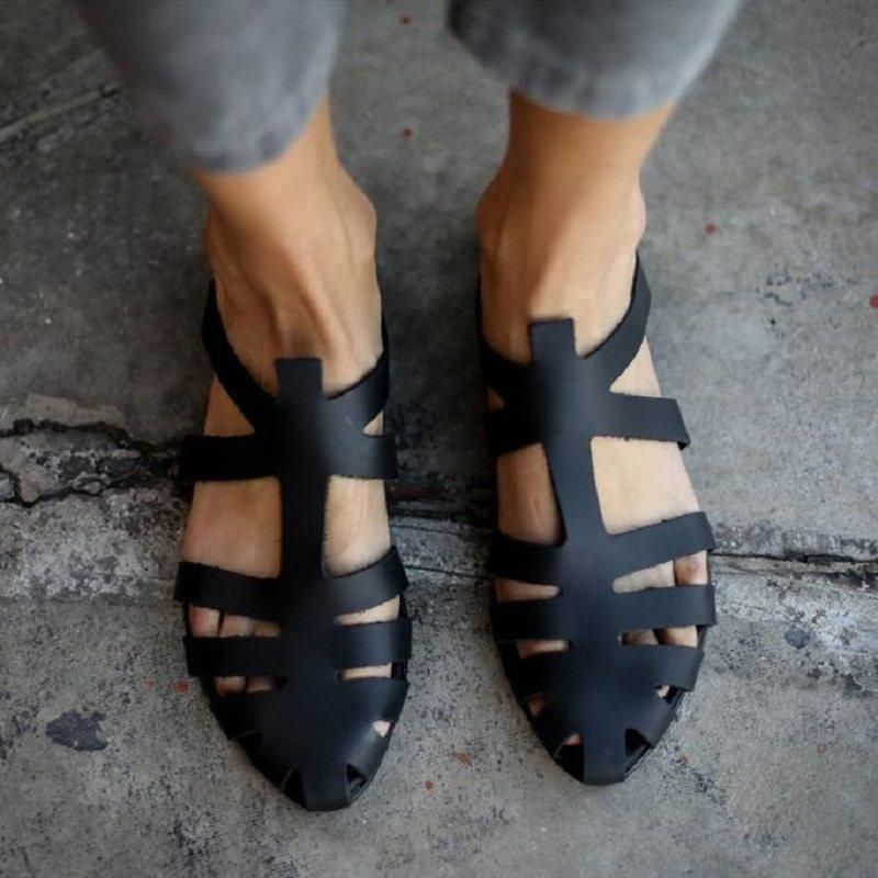 4d5d62ebfb5b FLAT WITH SLIP-ON CLOSED TOE VINTAGE SANDALS  Vintage  Flats  Sandals