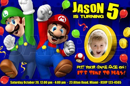 mario bros Birthday Invitations party kart Photo Printable custom