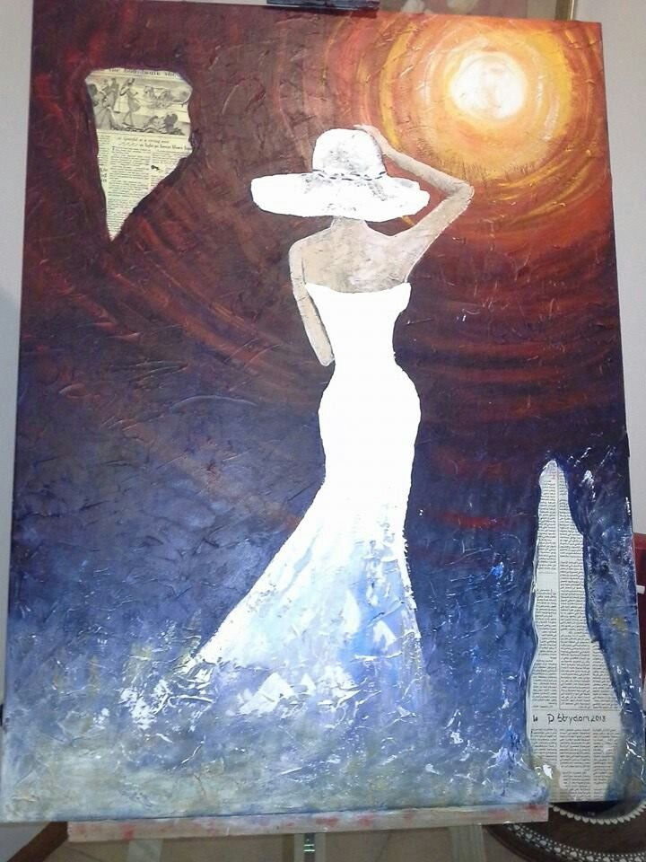 Acrylic lady in white