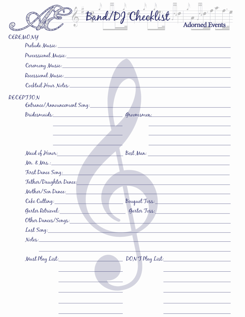 Wedding Dj Checklist Insssrenterprisesco - Wedding dj timeline template