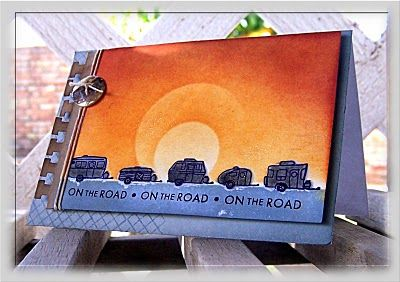 handmade card ... blue and rusty oranges .. luv the haloed sun inspired by a photo ... great card!!