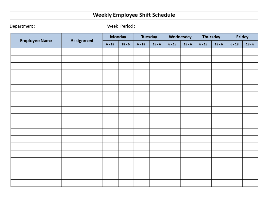 Weekly Employee 12 Hour Shift Schedule Mon To Fri
