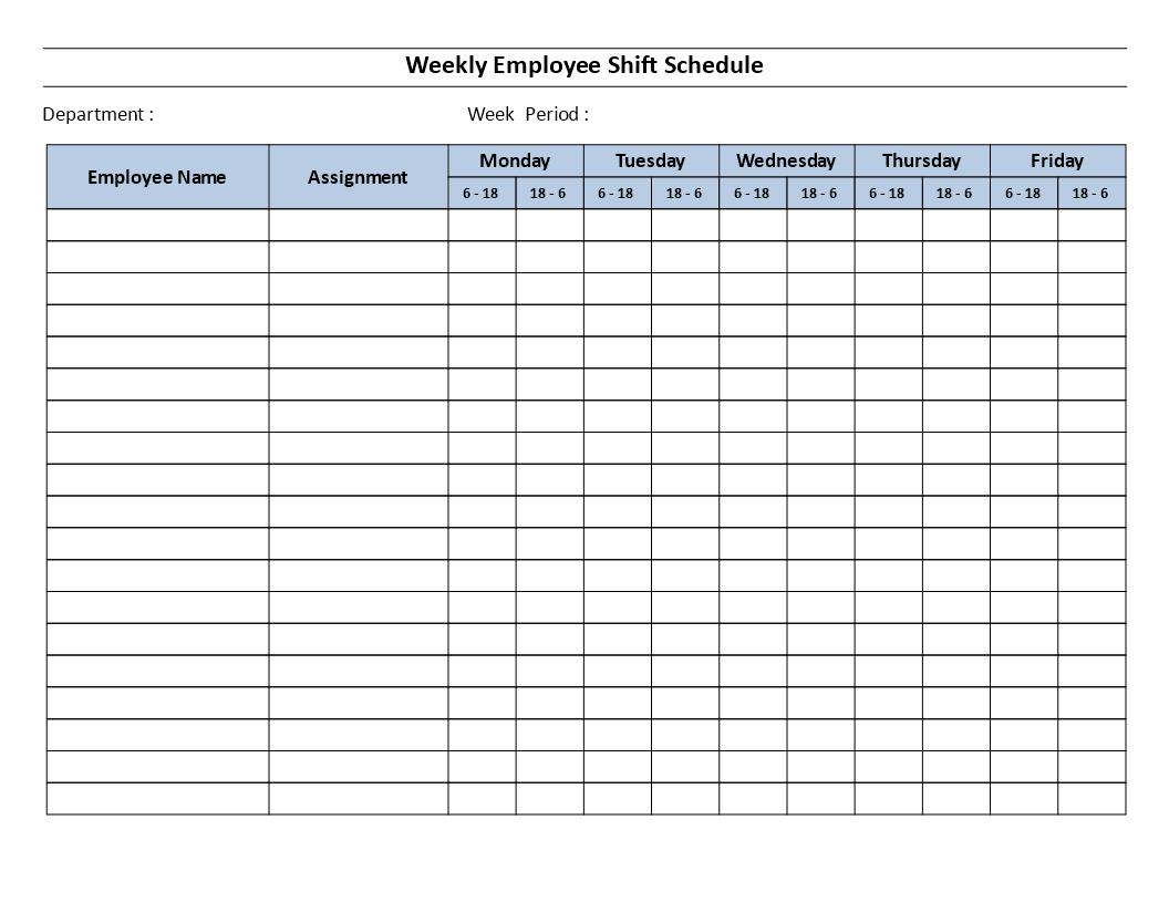 Weekly Employee 12 Hour Shift Schedule Mon To Fri