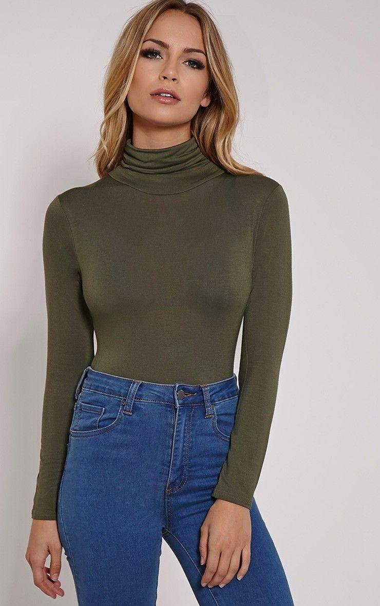 e9ba222faf364 Basic Khaki Roll Neck Long Sleeve Bodysuit Image 2