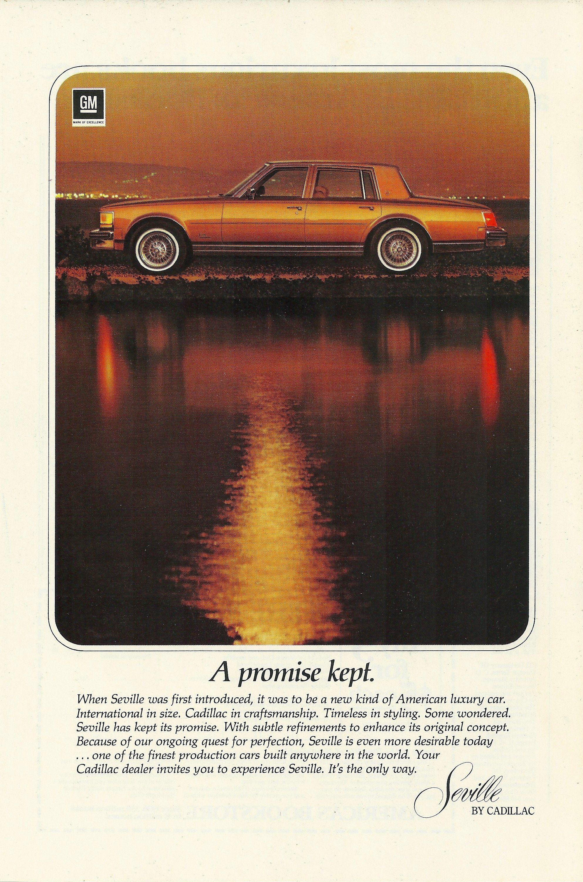 1978 Cadillac Seville Promise Kept Vintage Print Ad Masarati 2018