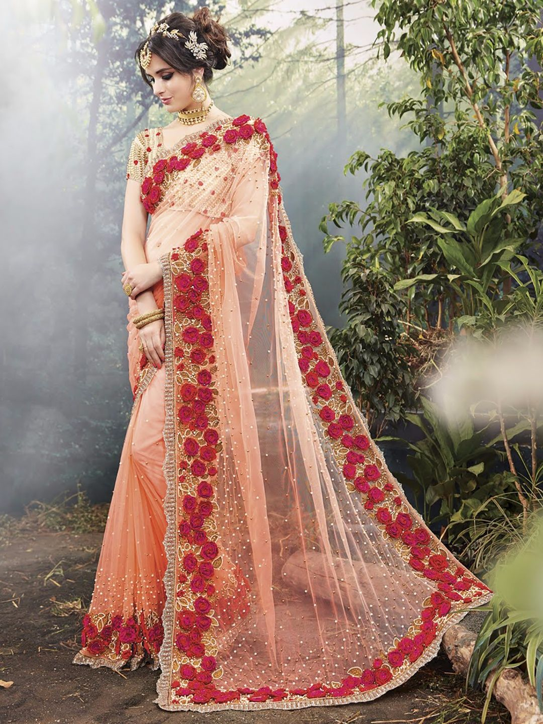 7c7881998a Hover to zoom Net Peach Dressy Party Wear Saree | Buy G3's Exclusive ...