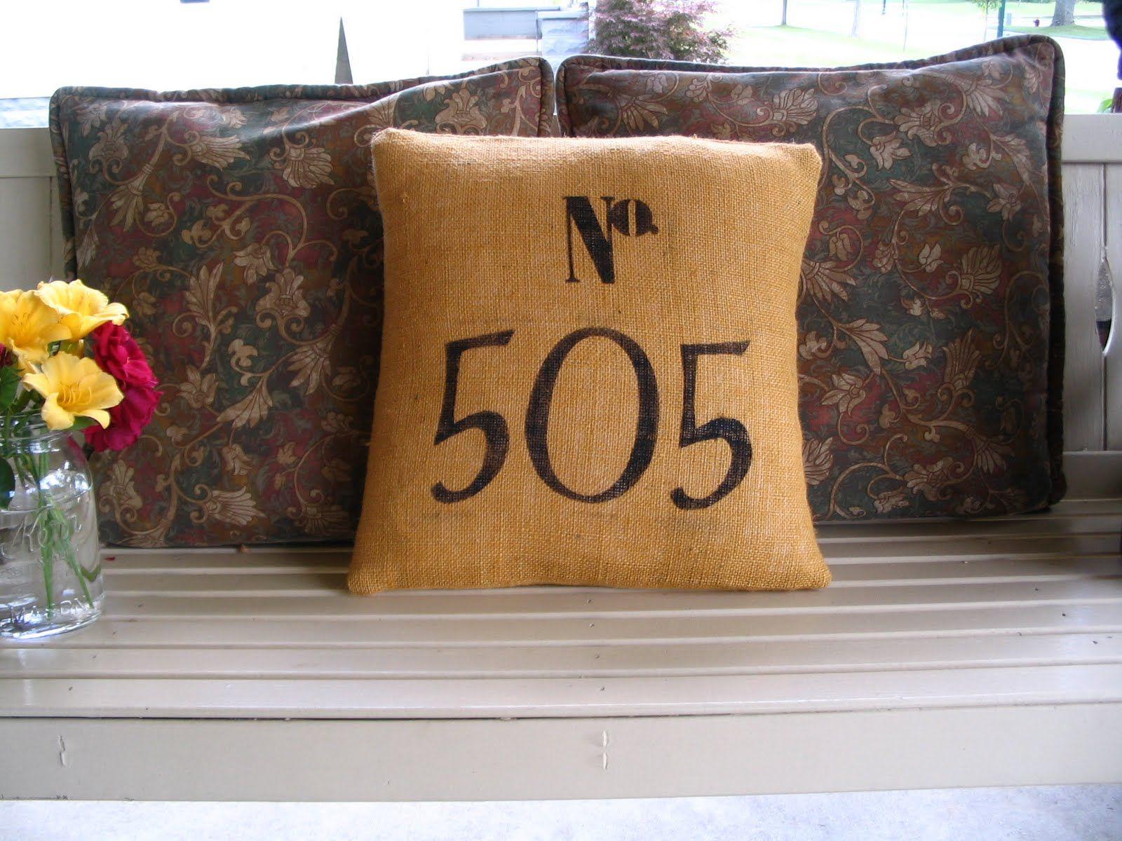 Burlap house number pillow.