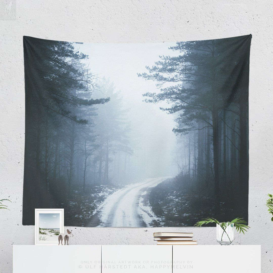 Foresthills Bedroom Large2: Misty Road Wall Tapestry, Forest Tapestry, Woods Dorm