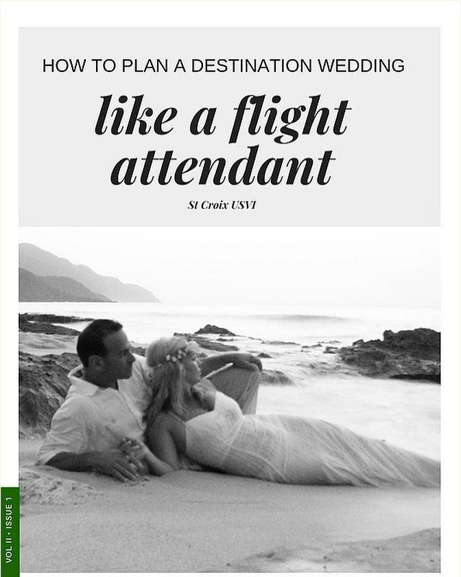 """My FREE Planning Resource! How to plan a destination wedding... like a flight attendant! This resource gives links to my vendors, ideas of things to do and where we stayed in St Croix for our wedding... I will be featuring more flight attendants in the future! Check it out! 😘 go to my website link in my profile and click on the tab """"free planning resources."""" Hope it inspires you to plan your own! ❤️"""